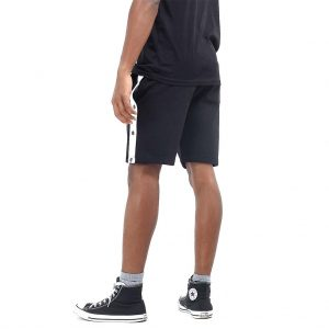 Brave Soul Popper Detail Black Jersey Shorts
