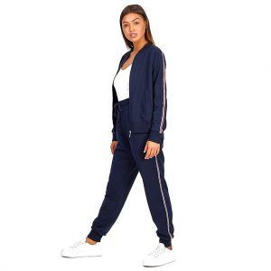 Brave Soul Stripe Detail Navy Tracksuit Set