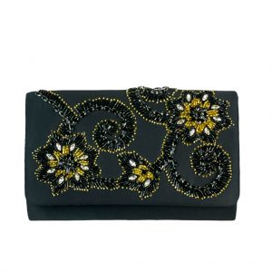 Adrianna Papell INIS Beaded Gold Silver Clutch